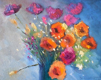 Floral Bouquet Giclee Print on Canvas, Free Shipping, Choose your Size, Ready to Hang, No Frame Required