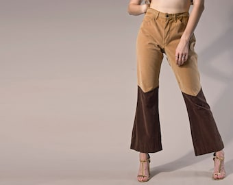 70s brown velvet contrast western flares pants | size medium