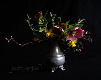 Still Life Photography - Spring Flowers Print - Dark Floral Art - English Garden Flowers - Botanical Decor