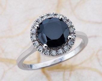 Black Spinel Halo Engagement Ring White Gold, Spinel Halo Engagement Ring White Gold, Oval Engagement Ring White Gold, Halo Engagement Ring