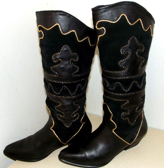 M and Tall brand Pazzo Fashion 5 6 Black size Boots Womens Gold qIBIPTw
