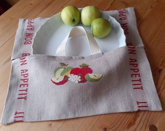 Embroidered linen bag apples