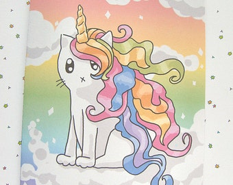 Rainbow Caticorn Card, Rainbow Card, Unicorn Card, Cute Cat Card Any Occasion Card Cute Greeting Card Just Because Card Thinking of You Note