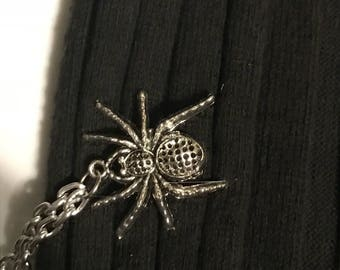 Sweater Pins: Silver Spiders