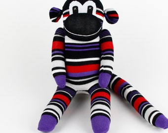 Handmade Purple Navy Striped Sock Monkey Stuffed Animal Doll Baby Gift Toys