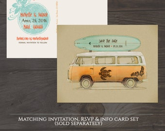 Destination wedding invitation Hawaii Maui Beach  illustrated wedding Save the Date Postcard - Hawaiian wedding - Deposit Payment
