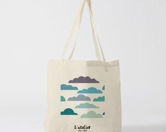 X21Y Tote bag clouds bag canvas cotton bag, diaper bag, handbag, tote bag, shopping bag, bag, courses, shopping bag