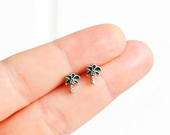 Palm Tree Earrings Coconut Beach Earrings Handmade Mix and Match Tiny Enamel Studs Kawaii Posts Hipster Trendy Miniature Posts Gifts for Her