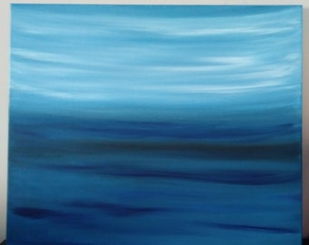 large ocean acrylic blue abstract painting,Ocean waves,Modern art,Contemporary,Impressionism,Office decor,Home decor