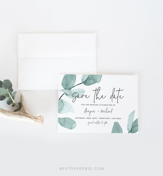 Save the Date Template, Instant Download, 100% Editable, Printable, Watercolor Greenery, Eucalyptus, Templett, DIY, 4x6 & 5x7 #049-128SD
