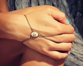 pink rose slave bracelet, hand chain, bracelet ring, slave ring, flower ring, boho bracelet, ring bracelet