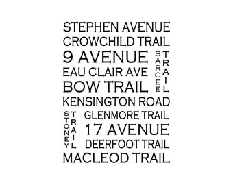 Calgary Alberta - Love This Place Street Name Art Print on Paper - Customize With Your Street - Decor Canada TheJitterbugShop