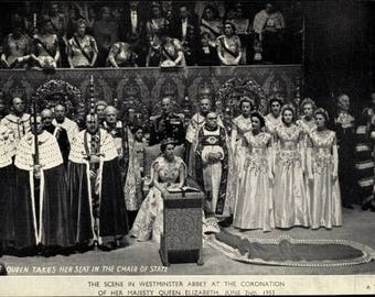 """c.1953 """"A TUCK Card"""" QUEEN Elizabeth II Takes Her Seat In The Chair Of State, Westminster Abbey, Coronation; Mint Condition."""