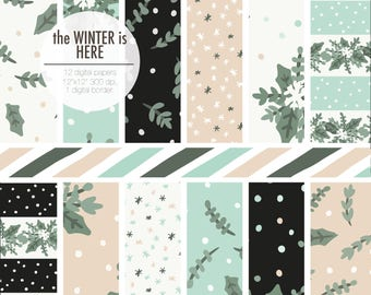 the WINTER is HERE Christmas digital paper. Winter bouquets, leaves and snowflakes in khaki, soft green, beige, black and blue.