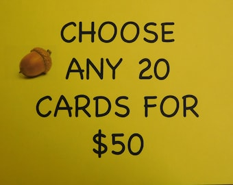 Card Sale - twenty cards sale - 20 for 50 - Handmade Greeting Card Sale Any 20 Individual Cards for 50