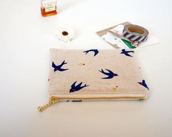 Canvas zipper pouch, small makeup bag, card pouch, swallow coin purse, gift for her