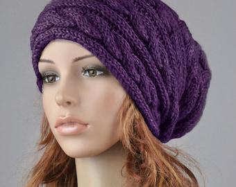 Hand knit hat wool winter hat woman hat Purple hat slouchy hat cable hat