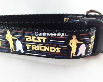 Star Wars Dog Collar, Best Friends, 1 inch wide, adjustable, small, 11-14 inches