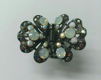 Vintage SNK Aurora Bourealis Butterfly Hair Claw, Rhinestone Hair Claw, Hinged Fashion Accessory, Boutique