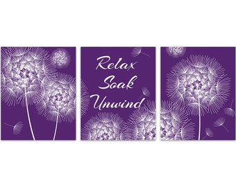 Purple Bathroom Wall Art, Dandelion Bathroom, INSTANT DOWNLOAD Relax Soak  Unwind, Modern Bathroom
