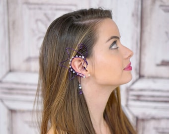 Dragon Wing Ear Cuff, Purple, Mermaid, Siren, Elven Jewelry, Elf Ear, Queen of Dragons, Fairy Ear Cuff, Silver Cuff, Cosplay,