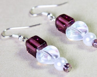 Grape Purple Glass Beads Handmade Earrings