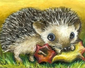 It's mine now - gorgeous little hedgehog happy with his lucky find - a core of an apple 5x7 print of an original painting by Tanya Bond
