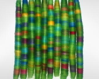 Rolag Puni - Spring Garden- SW Merino 19u - spinning fiber felting green rainbow red orange yellow blue purple pink rolled up batt