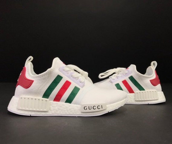 12e74e139 Shoptagr | Adidas Nmd X Gucci Custom Shoes White by Etsy