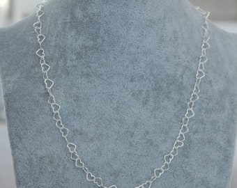Necklace Silver Chain Hearts