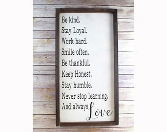 House Rules Farmhouse Decor Framed Wooden Sign, Farmhouse Chic Sign, Modern Farmhouse Decor, Wall Art Wood, Framed Wall Quotes, Country Art