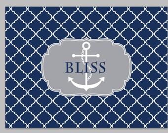 Personalized Welcome Door Mat Monogram/ Last Name, Personalized Door Mat, Custom rug, Monogrammed Door Mat, Nautical Anchor Doormat