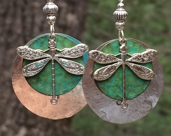 Unique dragonfly earrings, Silver dragonfly earrings,  dragonfly jewelry, hammered silver