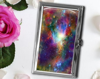 Metal Galaxy Business Card Case, Available in Silver or Bronze, Magnetic Needle Case, Card Storage Case, Needle Storage, Space