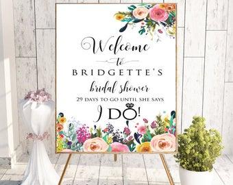 Floral Welcome Bridal Shower Sign, Bridal Shower Decor, Bridal Shower Welcome Sign, Bridal Shower Sign, Printable Bridal Shower Sign