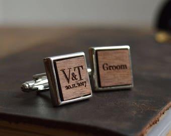 custom cufflinks, wedding cufflinks, wood cufflinks, personalised cufflinks, personalized cufflinks, groom cufflinks, custom cuff link
