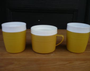 Set of Three (3) Harvest Gold Olympian Therm-O-Ware Cups