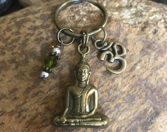 Buddha keychain, Om keychain, yoga accessories, keychain for packpack, gifts for teenagers, men, or women