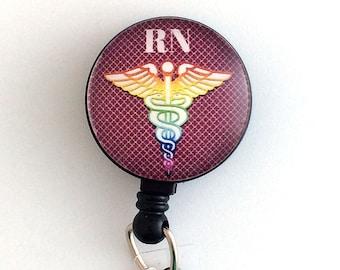 Magnetic ID Badge Reel, RN Caduceus, Nurse Badge, Badge Holder 258