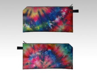 Tie Dye Pencil Case-Zipper Pouch-Pencil Pouch-Cosmetics Pouch-Cosmetics Case-Pink blue Red