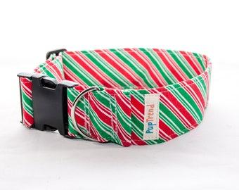 CLEARANCE! Christmas Dog Collar//Christmas Dog Collars//Christmas Striped Dog Collars//Xmas Dog Collars//Designer Collars//Christmas Collar