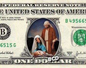 Baby Jesus & Manger on a REAL Dollar Bill Cash Money Christmas Stocking Stuffer