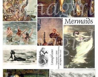 MERMAIDS digital collage sheet DOWNLOAD Waterhouse vintage images Victorian antique ephemera altered art fantasy sea sirens fairy tales