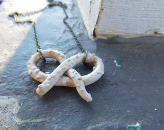 Salted Pretzel Necklace. Polymer clay . cute necklace. Valentines day gift.