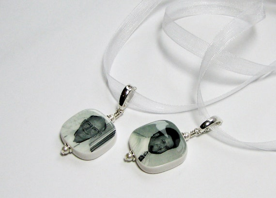 2 Wedding Bouquet Photo Charms - Small Photo Pendant with Rounded Corners - BC3R
