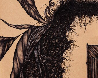 Surreal illustration art print. Gothic abstract pen & ink drawing