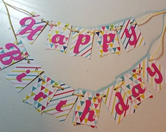 "Cake Bunting, ""Pretty Pennants"",  Rainbows, Happy Birthday, Cake Topper, Paper, Cake Banner"