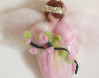 Waldorf inspired Rose Petal Flower Fairy  A handmade Fairy made using the Needle Felting techneque