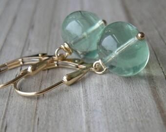 Spring Green Fluorite Gold Fill Earrings