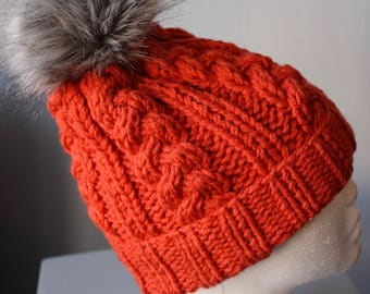 Tigerlily orange Knitted Hat